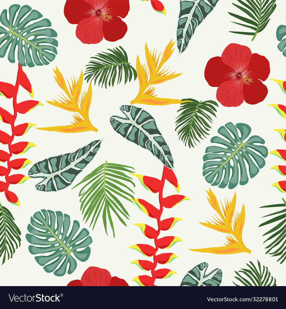 Seamless pattern with tropical jungle leaves