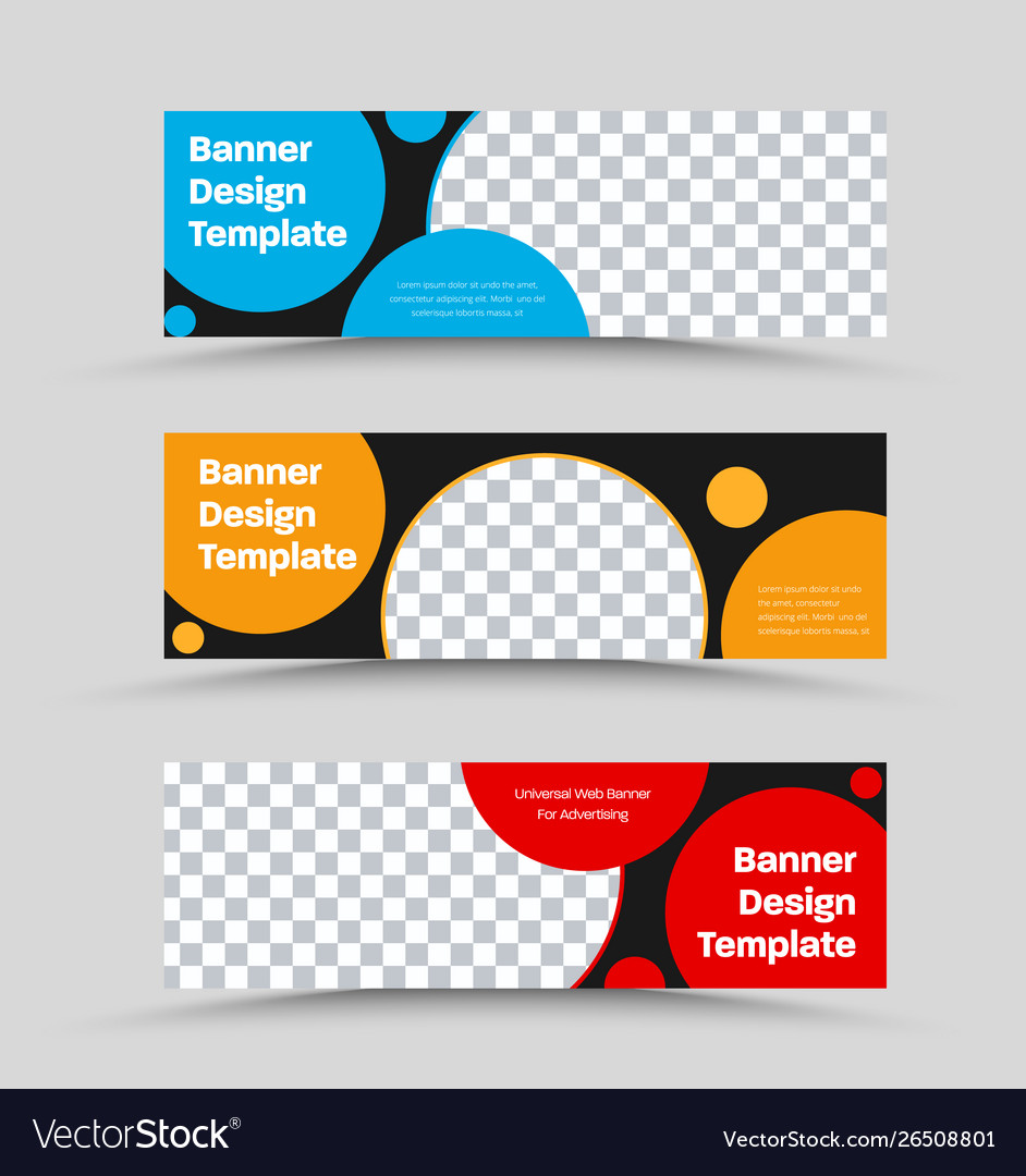 Set black horizontal web banners with place