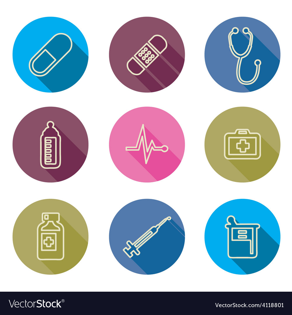 Set of medical icons line