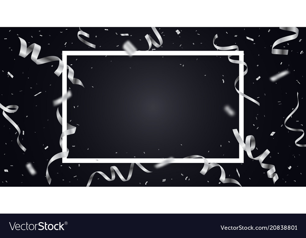 Silver ribbon with confetti with space for text vector image