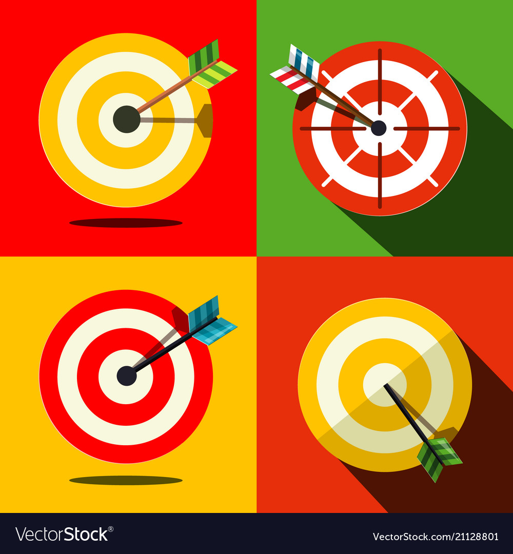 Target icons set with arrows - darts business vector image