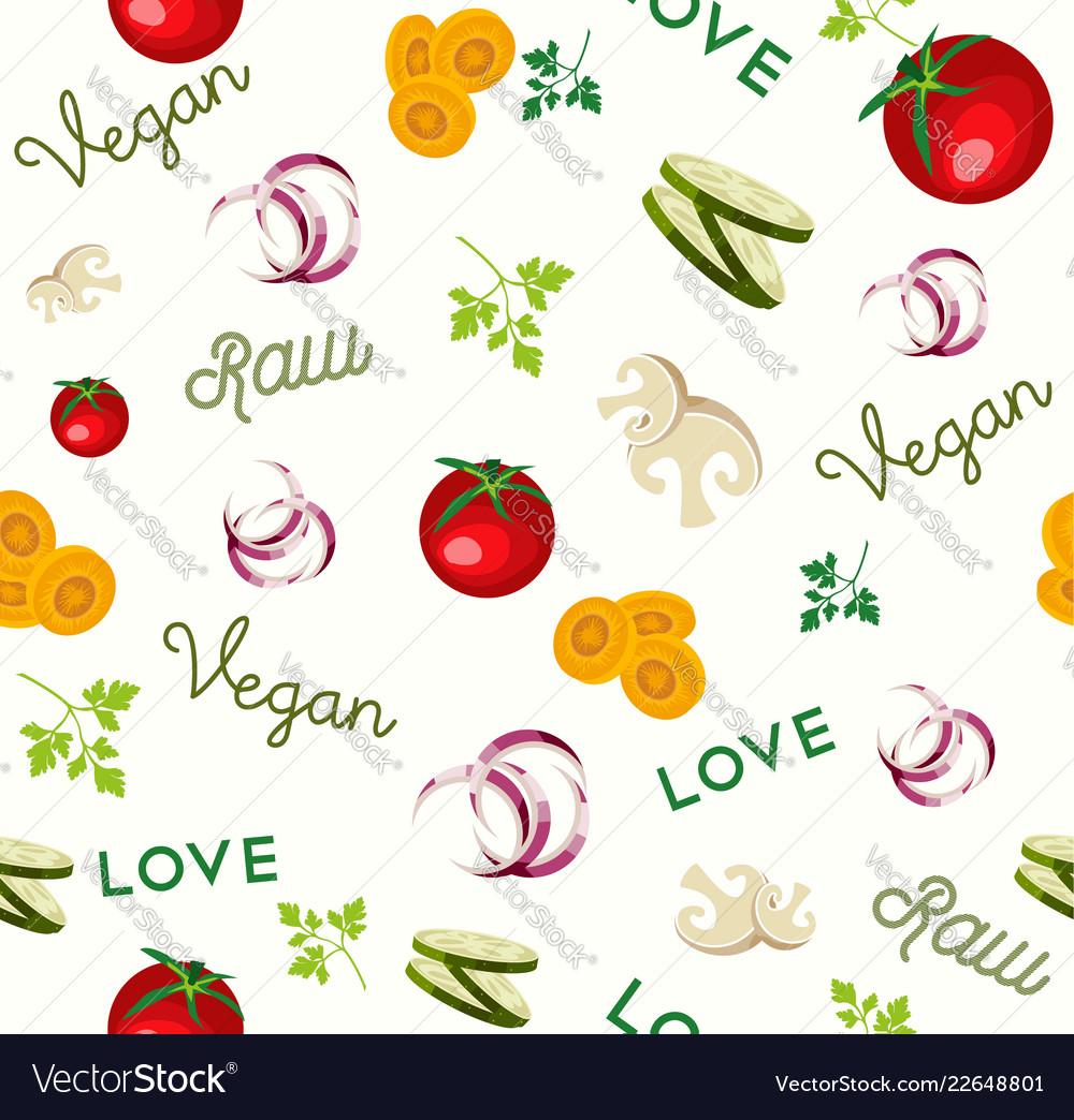 Vegan raw food vegetable icon seamless pattern