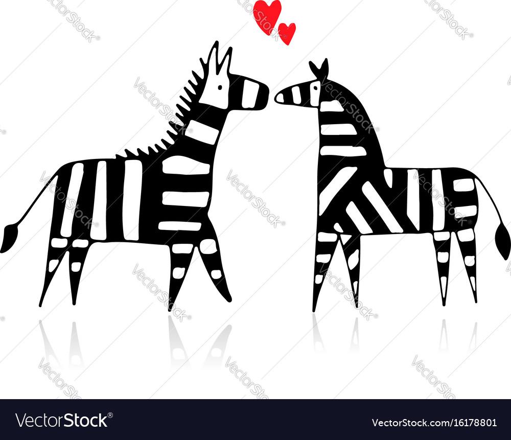 Zebra couple in love sketch for your design