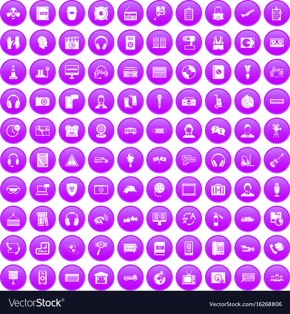 100 headphones icons set purple