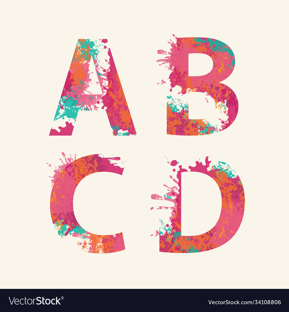 Abstract alphabet letters a b c d with color blots