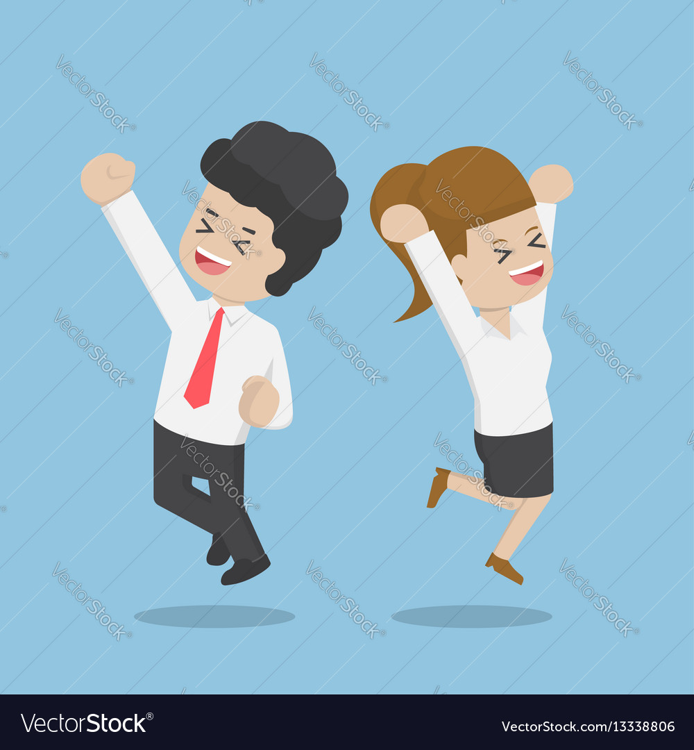 Business people celebrating success by jumping
