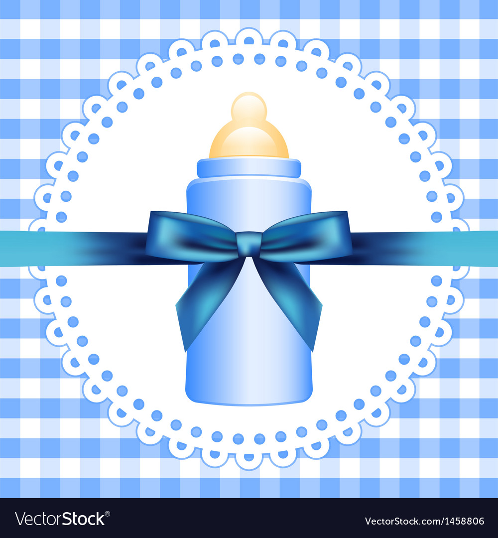 Checkered background with baby bottle