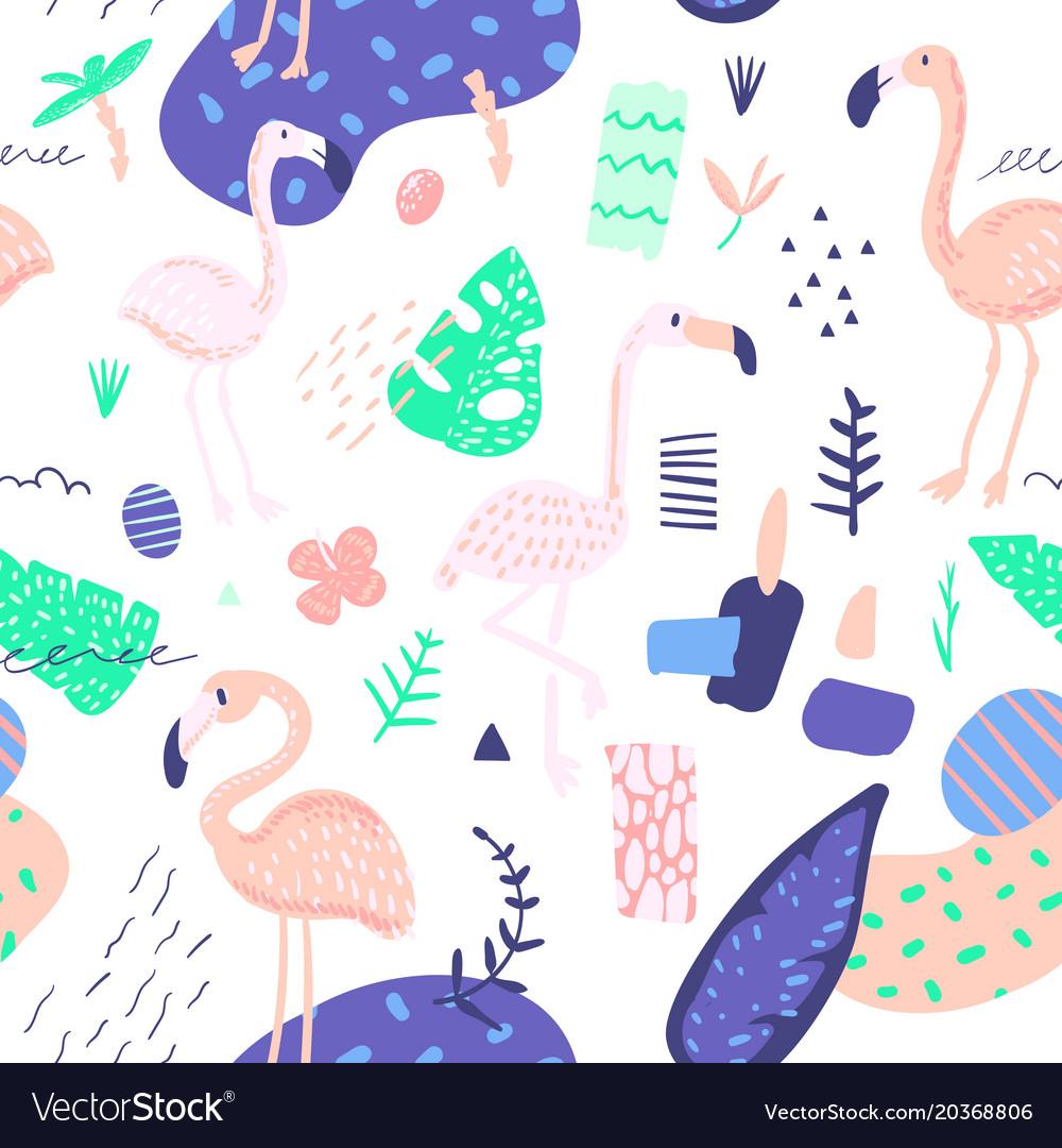 Childish summer seamless pattern with flamingo