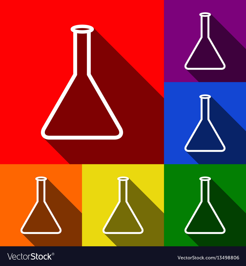 Conical flask sign set of icons with flat
