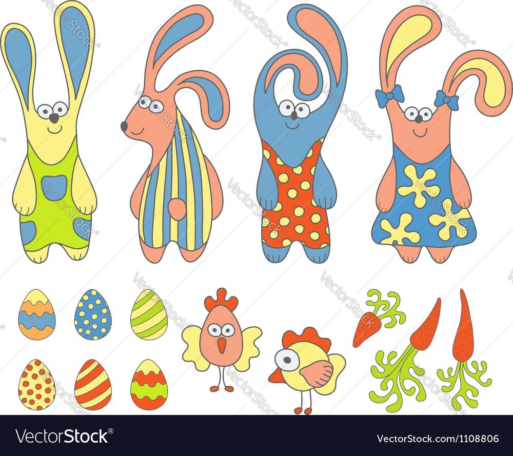 Cute cartoon rabbits