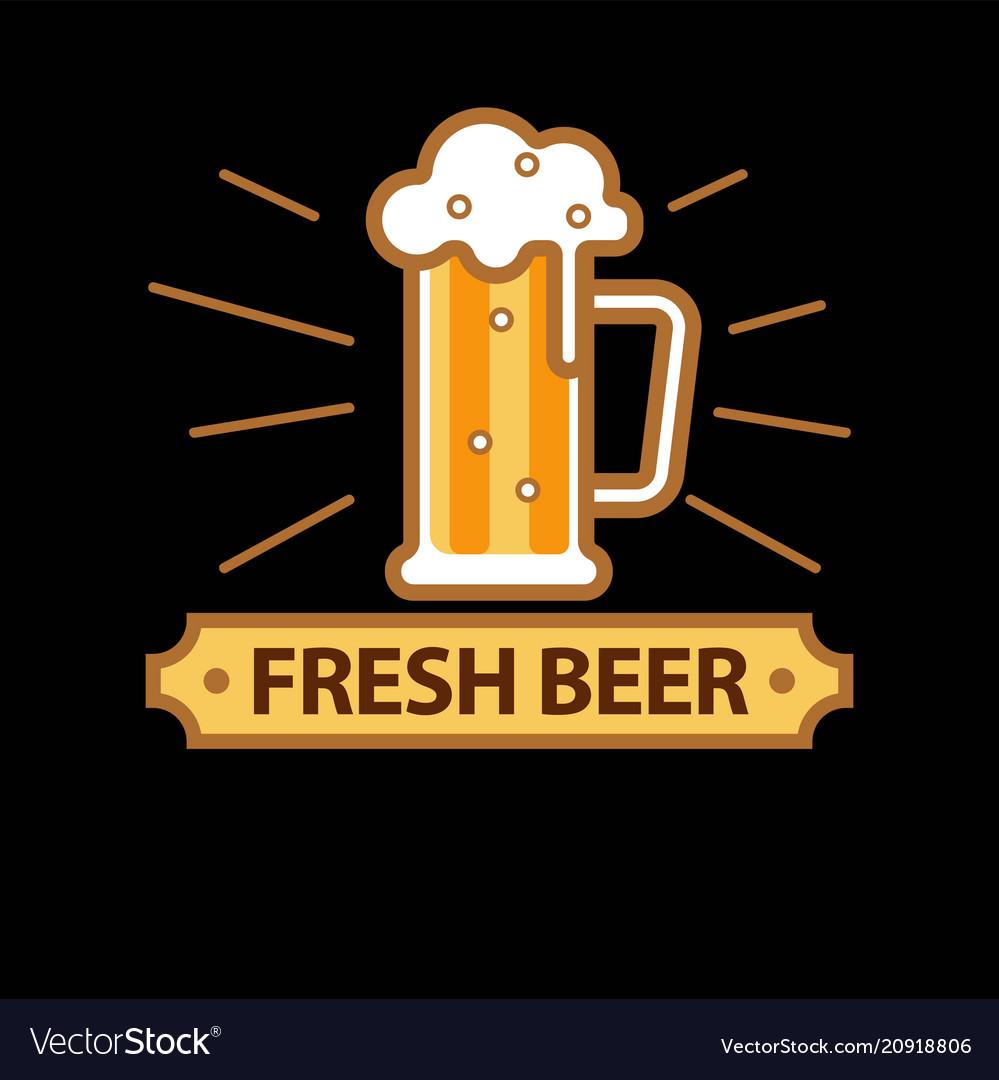 Fresh beer promo logotype with full glass mug vector image