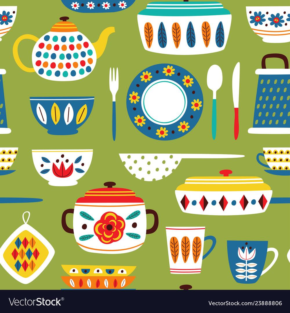 Green seamless pattern with vintage kitchen