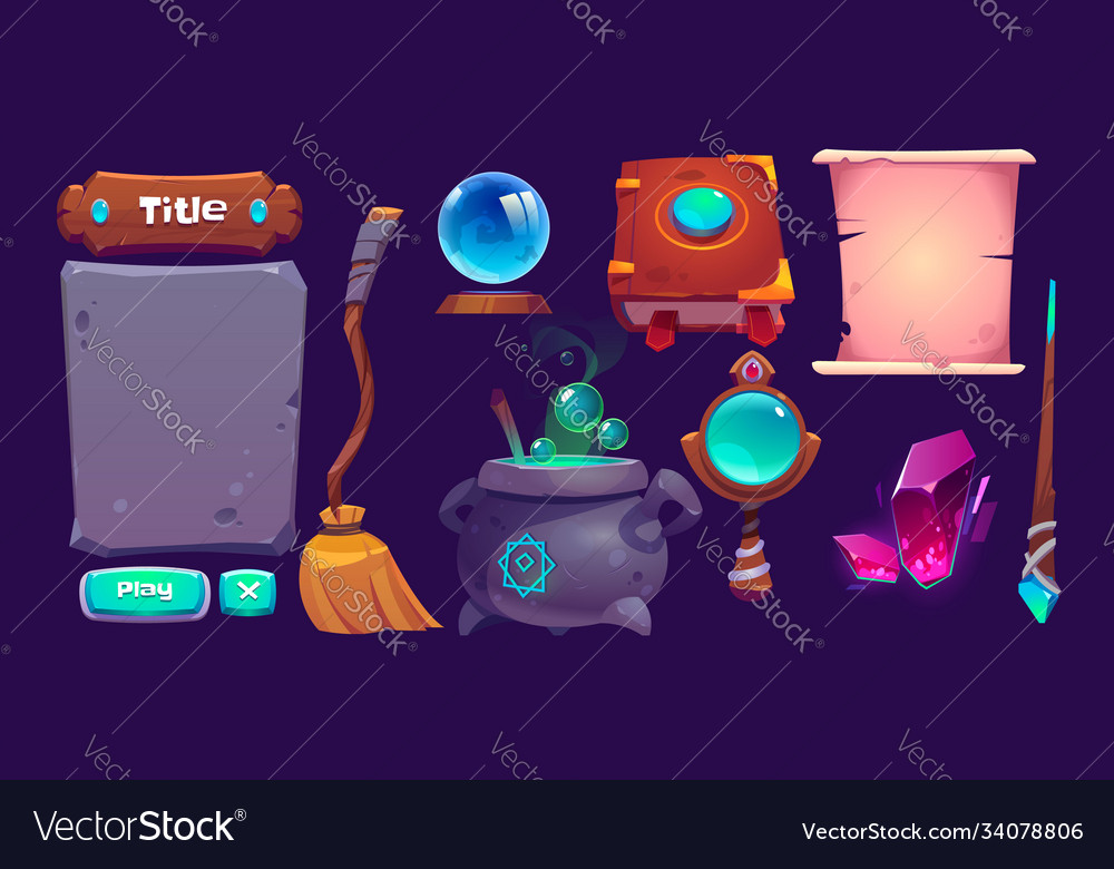 Interface for magic game cartoon design elements