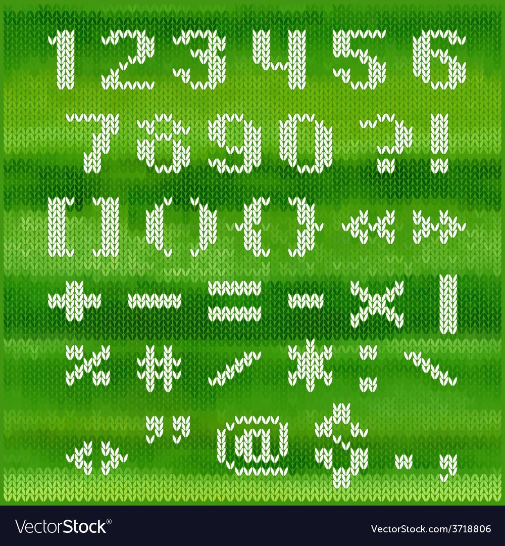 Knitted alphabet white bold sans serif Royalty Free Vector