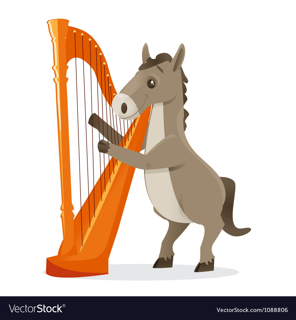 Musical animals horse harp vector image