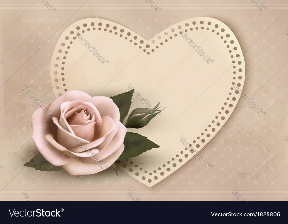 Retro greeting card with pink rose and heart