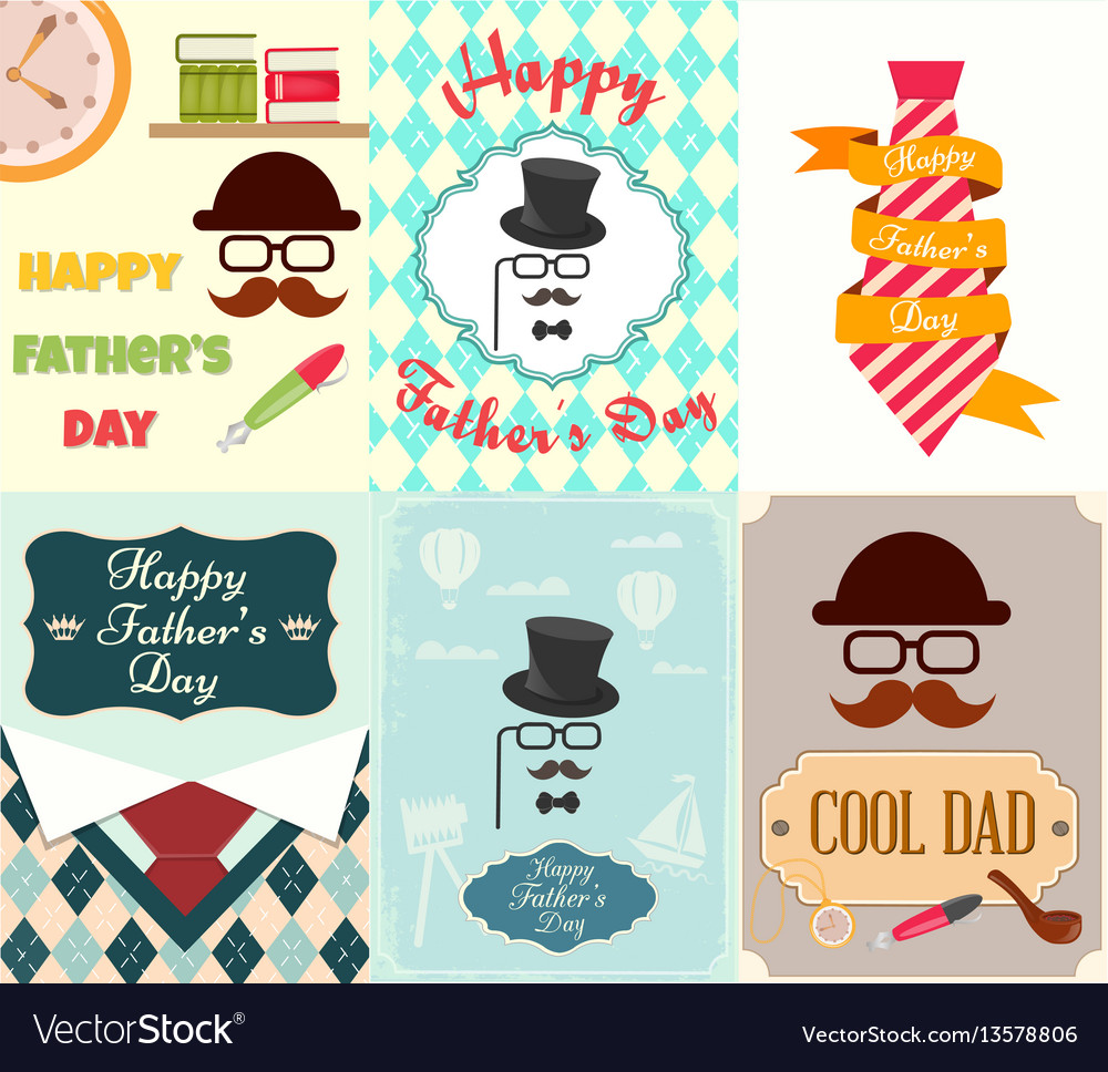 Set posters greeting cards happy fathers day vector image m4hsunfo