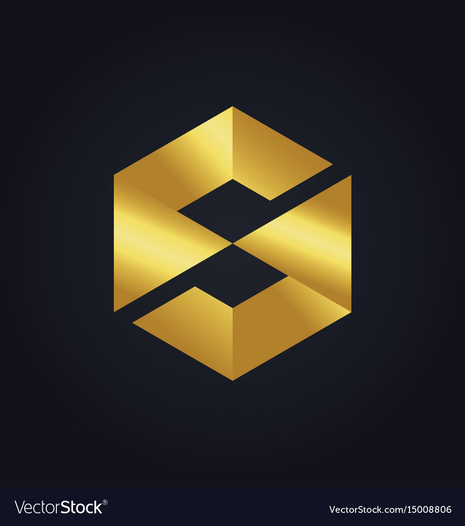 Square letter s cube gold technology logo