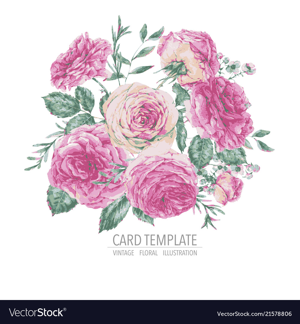 Vintage floral greeting card with pink