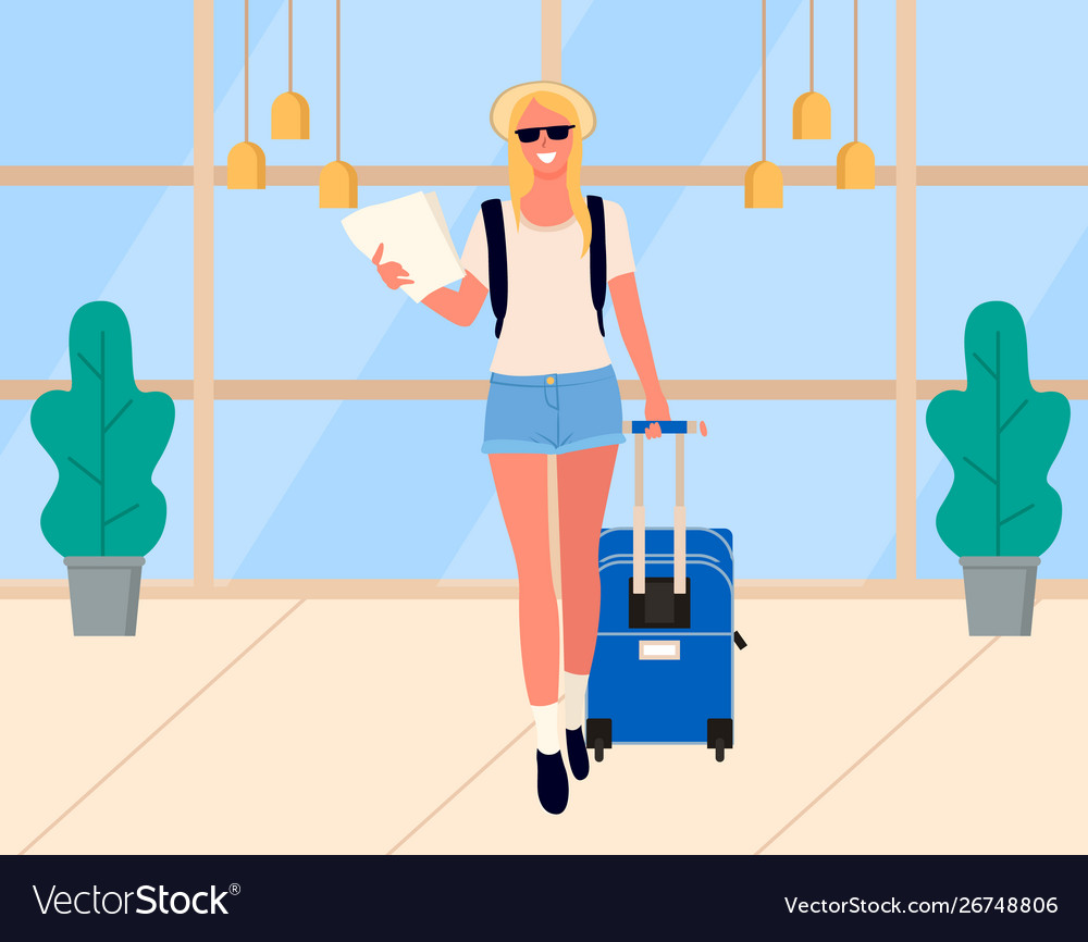 Woman arrival traveler in airport tourist