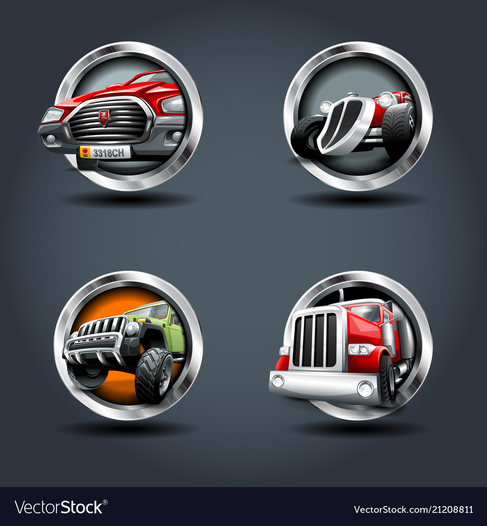 Cartrucksuv steely rounded badge icon for uigame