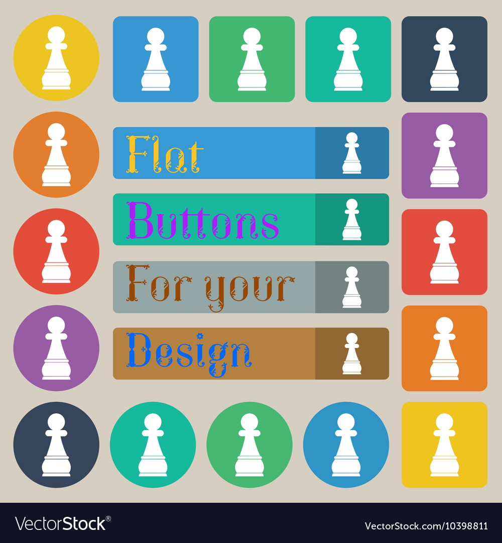 Chess Pawn icon sign Set of twenty colored flat