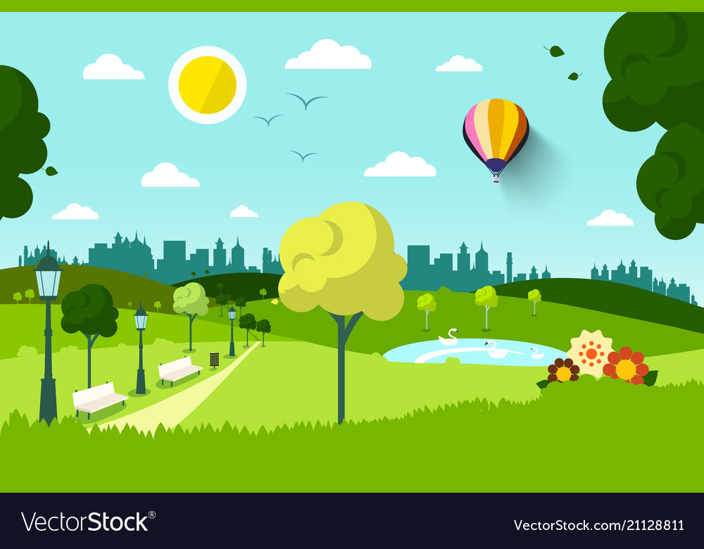 Empty city park with flowers and trees vector image