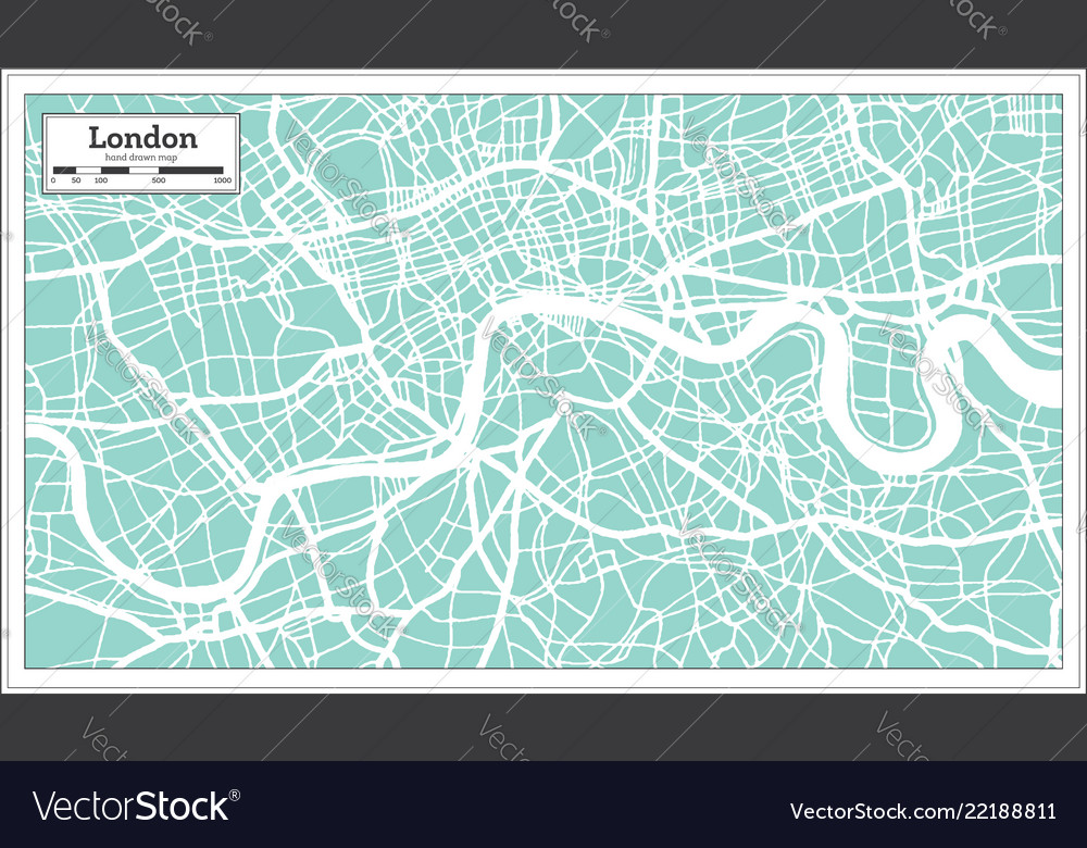 London England City Map In Retro Style Outline Map