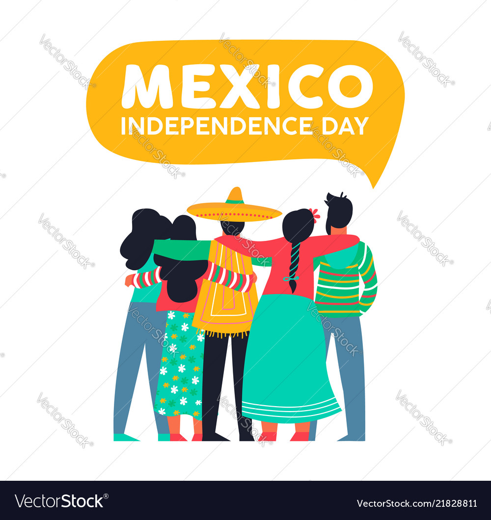 Mexico independence day card of mexican friends