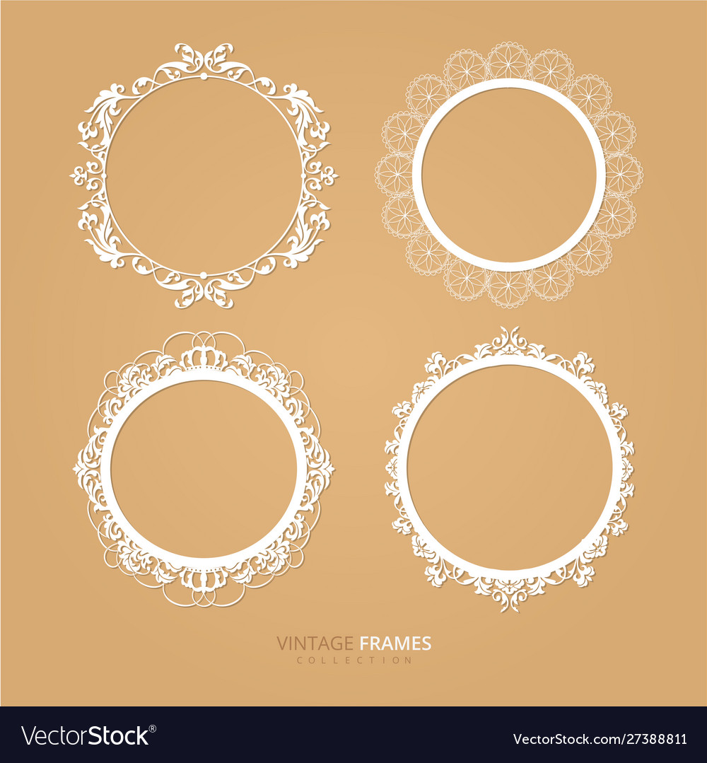 Old white floral frame design