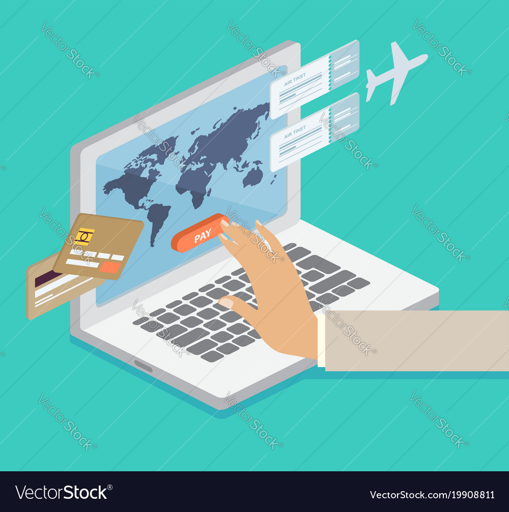 Person booking his airline flights online