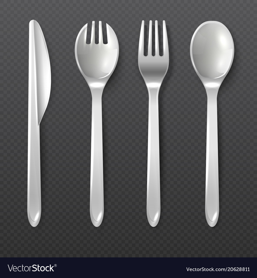 Realistic Disposable White Plastic Spoon Fork And Vector Image