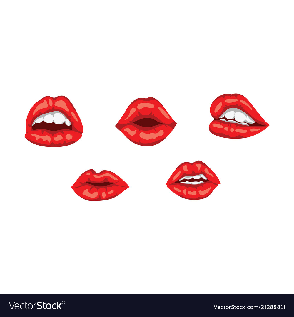 Red woman lips with smile sensual female mouth