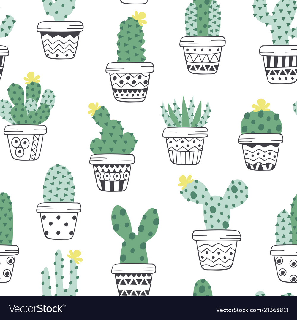 Seamless pattern with cactus in pots