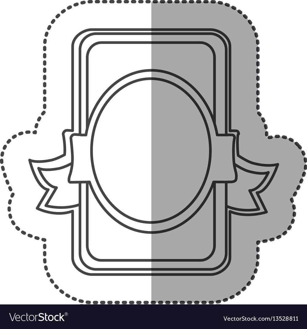 Silhouette emblem with round decoration icon vector image
