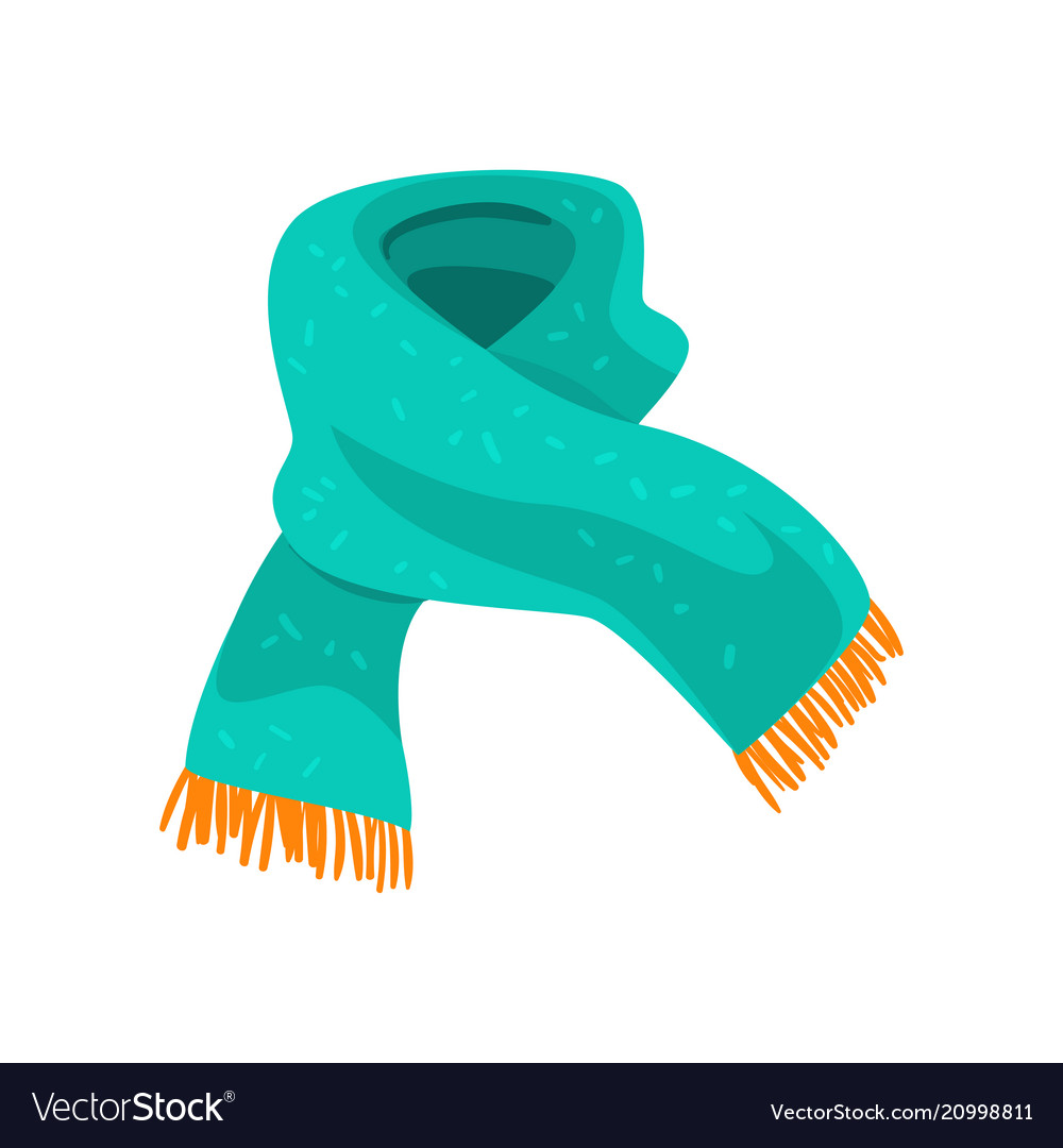 Turquoise Woolen Scarf With Orange Fringe On The Vector Image