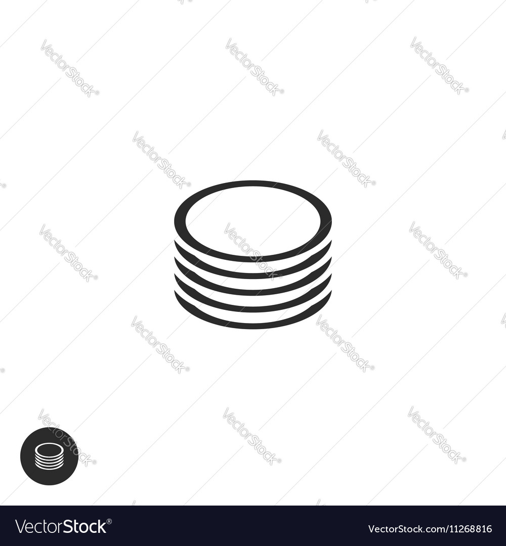 Coins stack pictogram flat outline round vector image