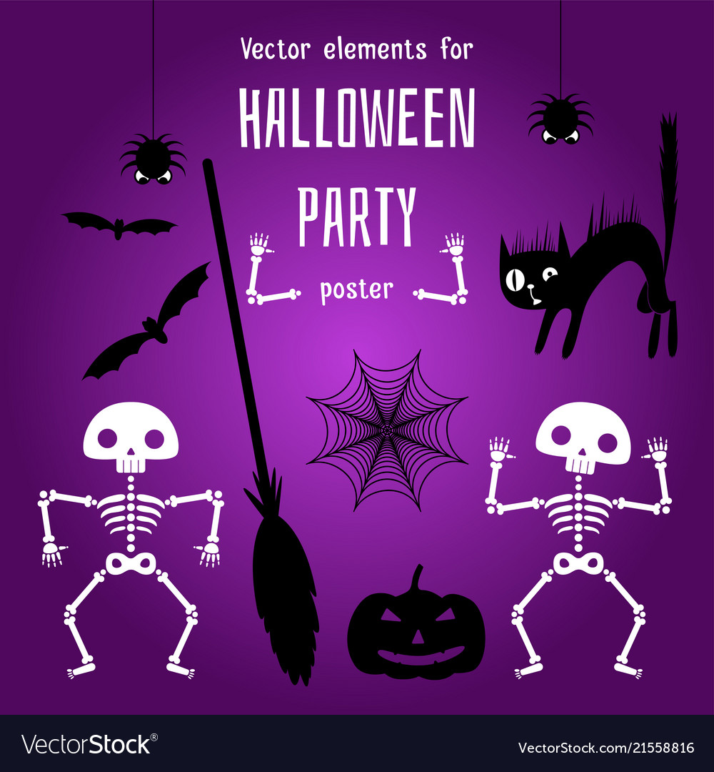 Design elements for creation a halloween poster