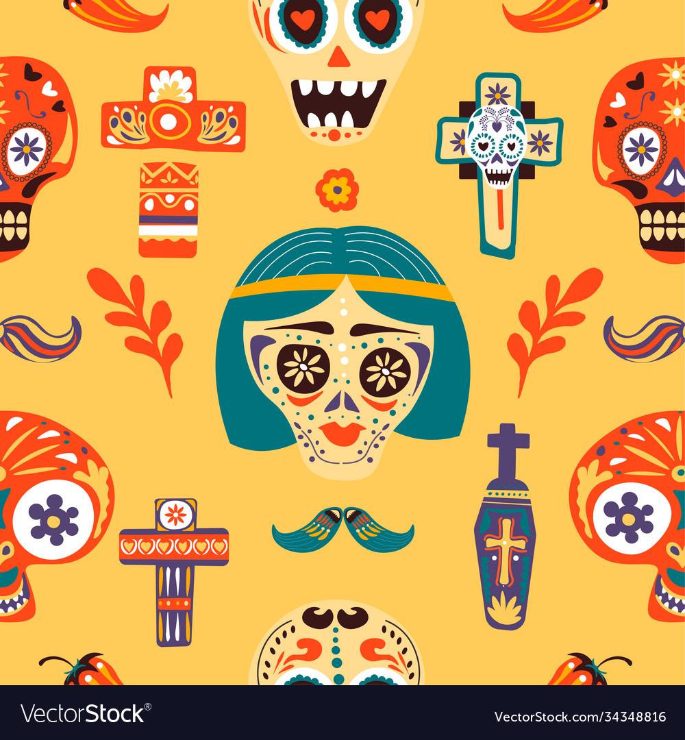 Dia de los muertos skulls and crosses seamless