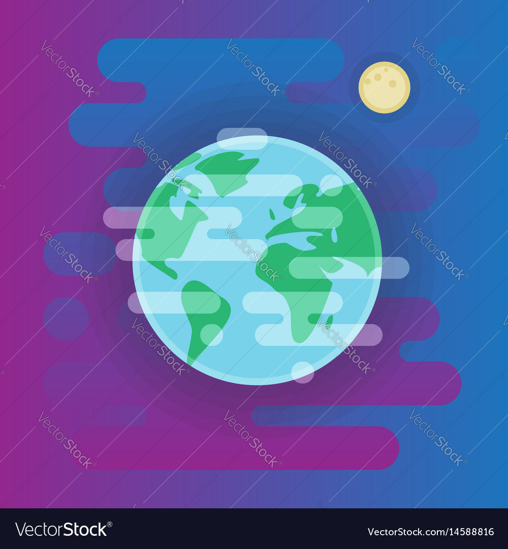Earth with moon icon - flat space vector image
