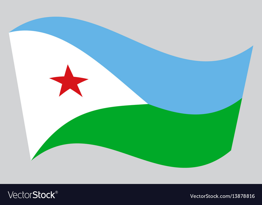 Flag of djibouti waving on gray background