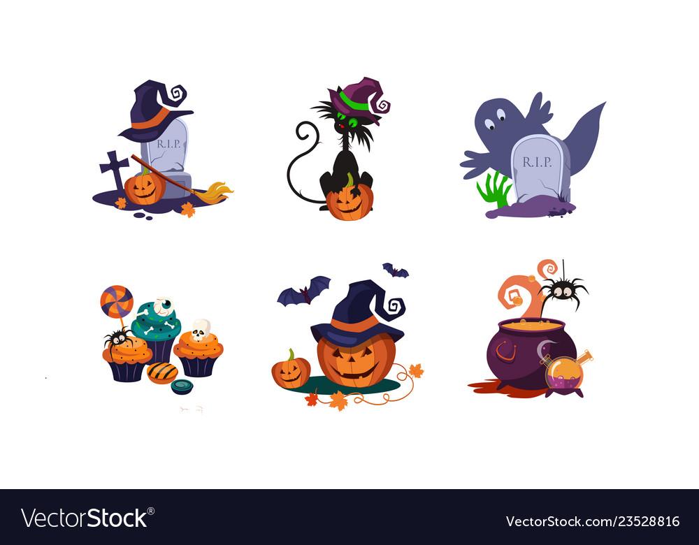 Halloween design elements set scary symbols