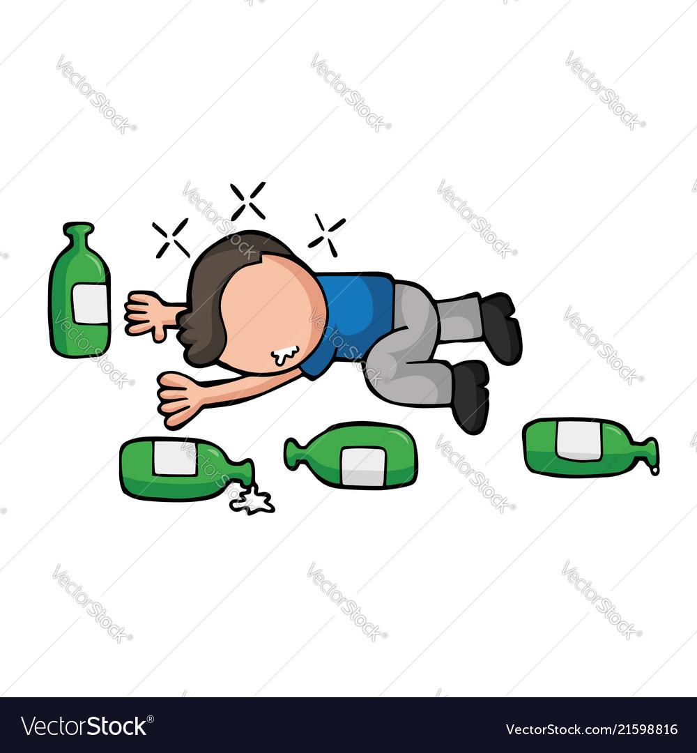Hand Drawn Cartoon Of Drunk Man Lying On Floor Vector Image