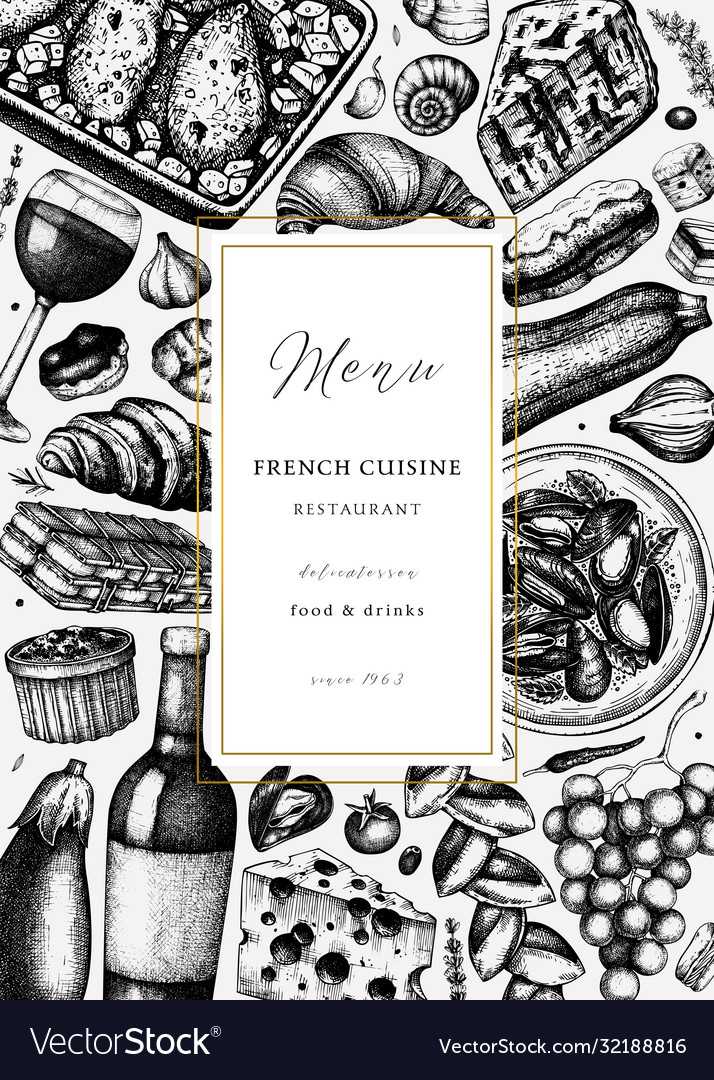 Hand sketched french cuisine picnic flyer
