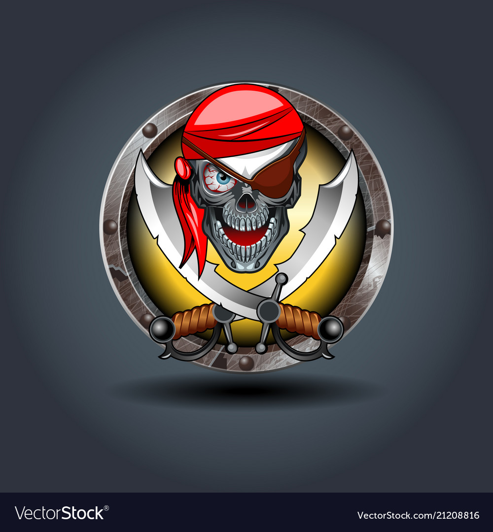 Pirate rusty iron rounded badge icon for uigame