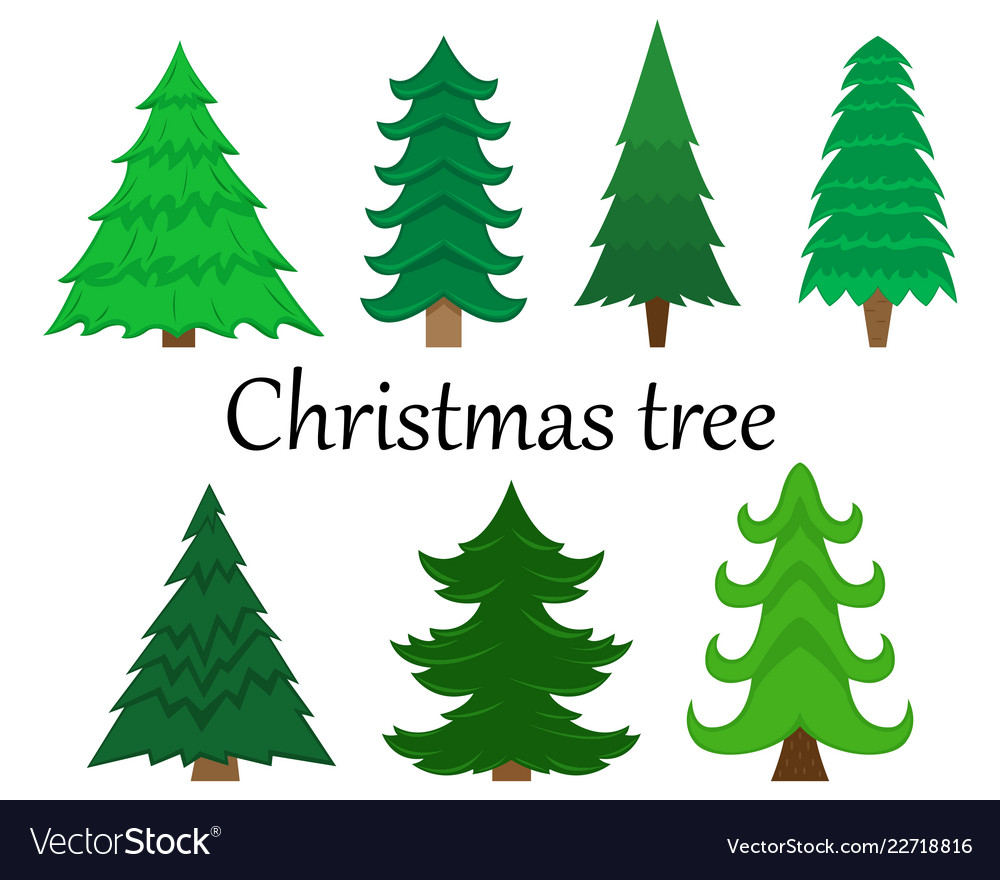 Set of 7 christmas trees without decoration