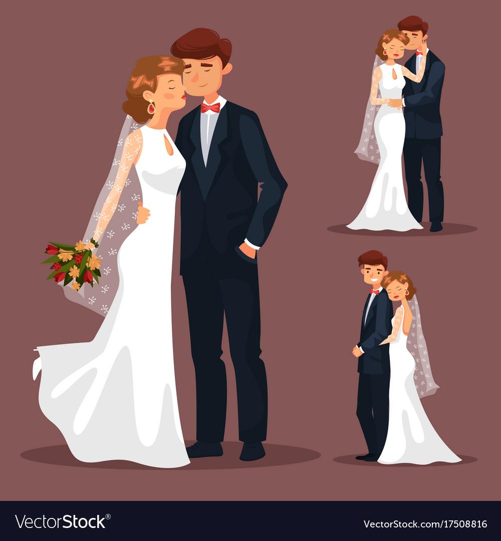 Set of isolated married couple wedding