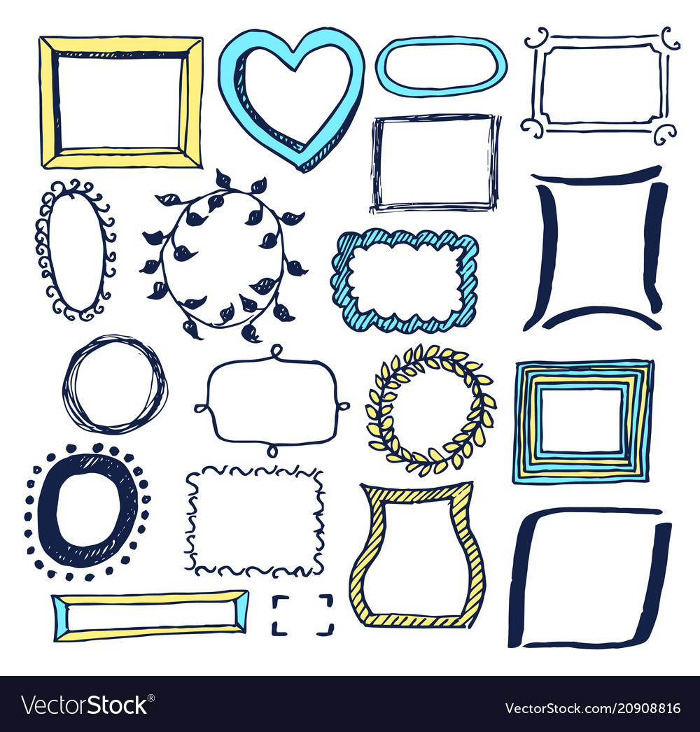Set of various colorful frames
