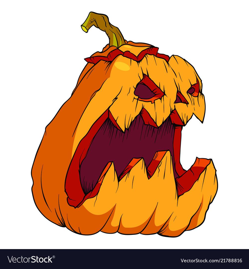 Halloween Pumpkin Drawing.Volumetric Drawing Of A Pumpkin For Halloween