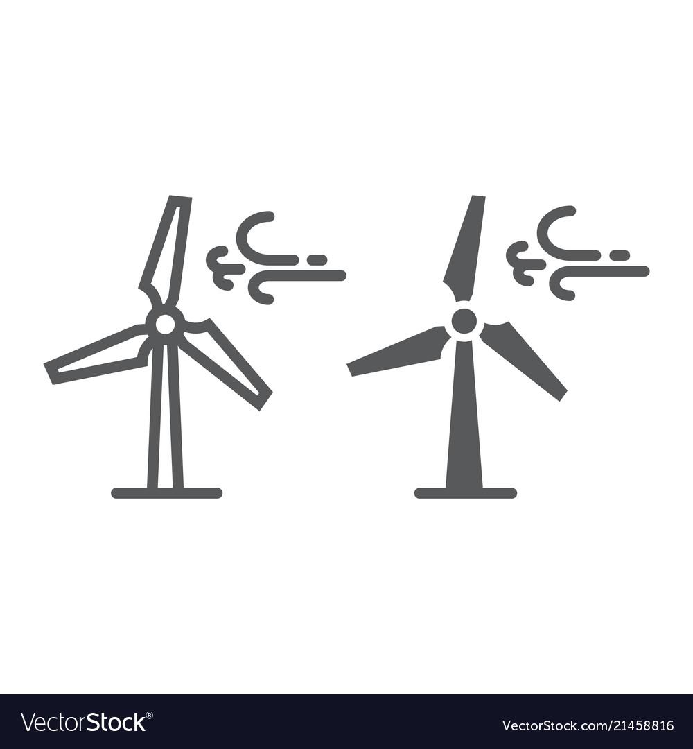 Wind Turbine Line And Glyph Icon Ecology Energy Vector Image